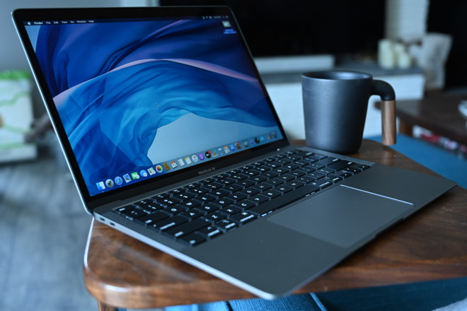 Having a coffee while working on the 2020 MacBook Air
